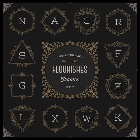 accents: Set of monogram template with flourishes calligraphic elegant ornament frames - Vector illustration Illustration
