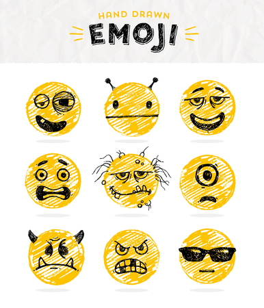 beaten: Hand drawn set of Emoticons. Vector set of Emoji. Smile icons. Vector illustration. Illustration