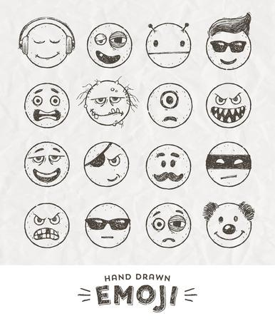 payasos caricatura: Mano conjunto de emoticonos dibujado. Vector conjunto de Emoji. iconos sonrisa. Ilustración del vector.