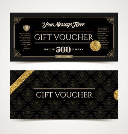 plantilla vale de regalo de oro brillo, ilustración vectorial, diseño para la invitación, certificado, cupón de regalo, ticket, asiento, diploma, etc.