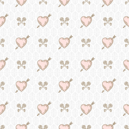 pierced: Vector seamless background with arrow pierced hearts and crossed keys - pattern for wallpaper,  wrapping paper, book flyleaf, envelope inside, etc.