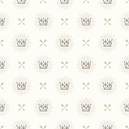 Vector seamless background with royal crown and crossed arrows - pattern for wallpaper, wrapping paper, book flyleaf, envelope inside, etc.