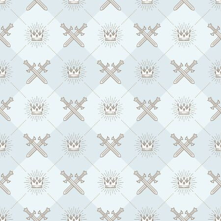 crossed swords: Vector seamless background with crossed swords and sunburst royal crown - pattern for wallpaper,  wrapping paper, book flyleaf, envelope inside, etc.