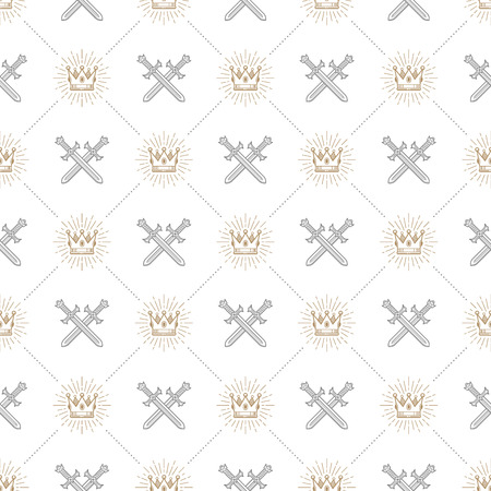 knightly: Vector seamless background with crossed swords and sunburst royal crown - pattern for wallpaper,  wrapping paper, book flyleaf, envelope inside, etc.