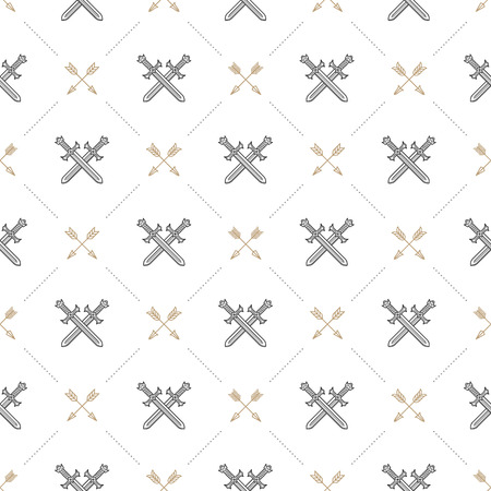 knightly: Vector seamless background with crossed swords and arrows - pattern for wallpaper, wrapping paper, book flyleaf, envelope inside, etc.