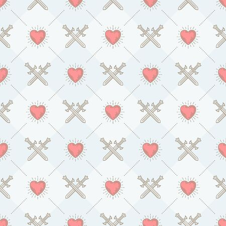 sword and heart: Vector seamless background with crossed swords and sunburst heart - pattern for wallpaper, wrapping paper, book flyleaf, envelope inside, etc.