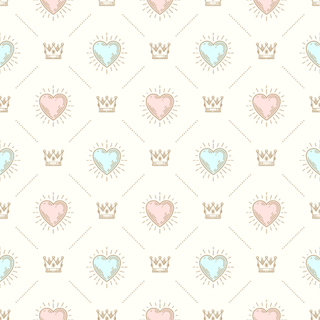 paper heart: Vector seamless background with royal crown and sunburst heart - pattern for wallpaper, wrapping paper, book flyleaf, envelope inside, etc.