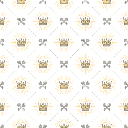 old keys: Vector seamless background with royal crown and crossed old keys - pattern for wallpaper, wrapping paper, book flyleaf, envelope inside, etc. Illustration