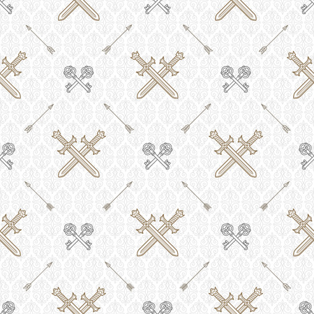old keys: Vector seamless background with crossed old keys and swords - pattern for wallpaper, wrapping paper, book flyleaf, envelope inside, etc.