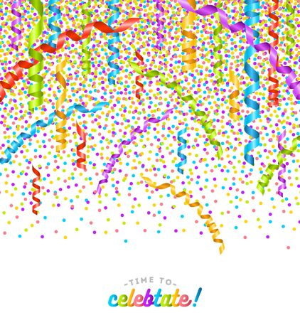 party streamers: Party multicolor confetti and streamers .Birthday card or celebration vector design.