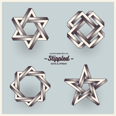 impossible: Vector set of impossible shapes with stippled  gradient. Illustration
