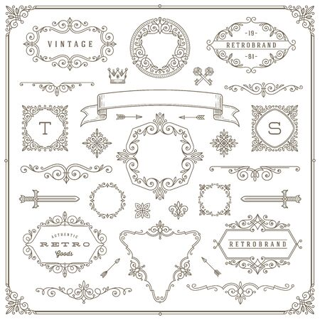 Set of vintage design elements - flourishes and ornamental frames, border, dividers, banners and other heraldic elements for , emblem, heraldry, greeting, invitation, page design, identity design, shop, store, restaurant, boutique, hotel and etc.