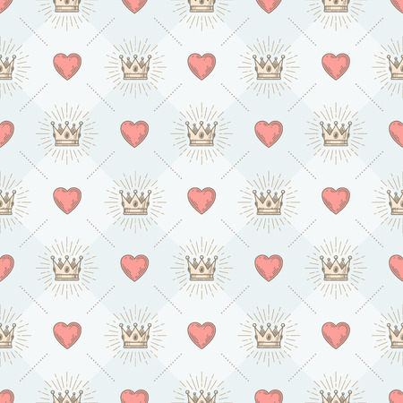 Vector seamless background with royal sunburst crown and heart - pattern for wallpaper, wrapping paper, book flyleaf, envelope inside, etc. Illustration