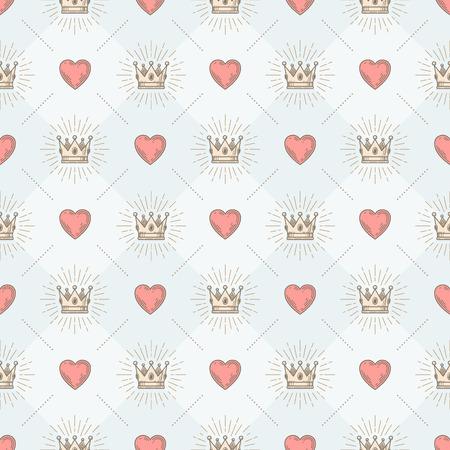 Vector nahtlose Hintergrund mit königlichen Sunburst Krone und Herz - Muster für Tapeten, Geschenkpapier, Buch flyleaf, Umschlag innen, usw.
