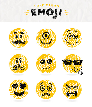 sunglasses cartoon: Hand drawn set of Emoticons. Vector set of Emoji. Smile icons. Vector illustration. Illustration