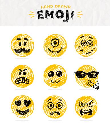 patron: Mano conjunto de emoticonos dibujado. Vector conjunto de Emoji. iconos sonrisa. Ilustración del vector.