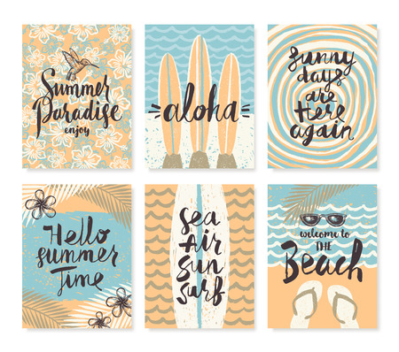 Vector set os summer holidays and tropical vacation hand drawn posters or greeting card with handwritten calligraphy quotes, phrase and words.