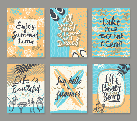 Vector set os summer holidays and tropical vacation hand drawn posters or greeting card with handwritten calligraphy quotes,  words and phrases. Illustration