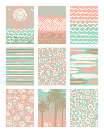 chill out: Vector set of summer holidays and tropical vacation hand drawn posters or greeting card. Illustration