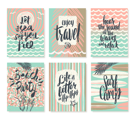vacation summer: Vector set os summer holidays and tropical vacation hand drawn posters or greeting card with handwritten calligraphy quotes, words and phrases. Illustration