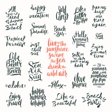 chill out: Vector set of Hand drawn calligraphy. Summer holidays and vacation quotes, phrases and words. Illustration