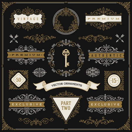 accents: Set of vintage design elements - flourishes and ornamental frames, border, dividers, banners and other heraldic elements for logo, emblem, heraldry, greeting, invitation, page design, identity design, shop, store, restaurant, boutique, hotel and etc.