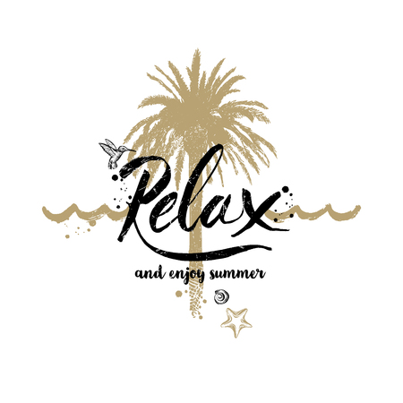 resort: Relax and enjoy summer - Summer holidays and vacation hand drawn vector illustration. Handwritten calligraphy quotes. Illustration