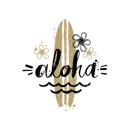 summer holidays: Aloha - Summer holidays and vacation hand drawn vector illustration. Handwritten calligraphy greeting card.