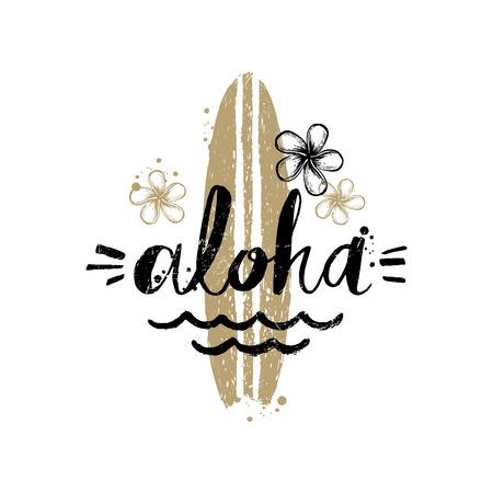 Aloha - Zomervakantie en getrokken vakantie de hand vector illustratie. Handgeschreven kalligrafie wenskaart.