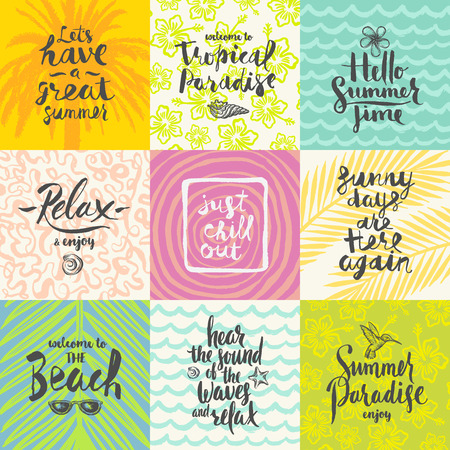 Set of summer holidays and tropical vacation hand drawn posters or greeting card with handwritten calligraphy quotes, phrase and words. Vector illustration 向量圖像