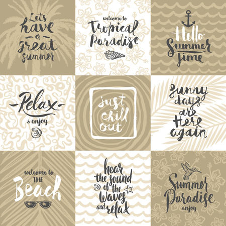sketch out: Set of summer holidays and tropical vacation hand drawn posters or greeting card with handwritten calligraphy quotes, phrase and words. Vector illustration Illustration