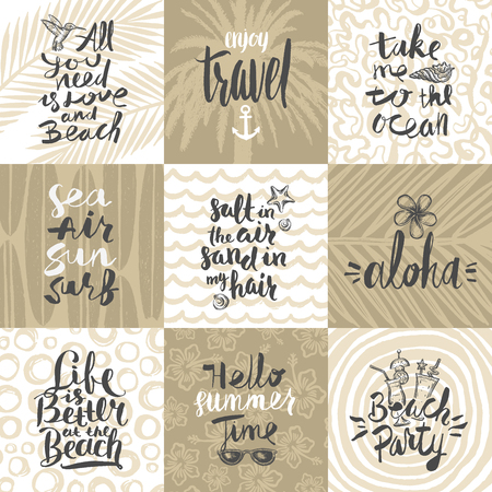 chill out: Set of summer holidays and tropical vacation hand drawn posters or greeting card with handwritten calligraphy quotes, phrase and words. Vector illustration.