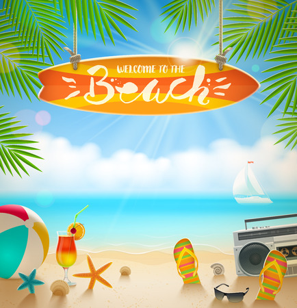 signboard: Surfboard signboard with hand drawn calligraphy - Welcome to the beach. Summer holidays and beach vacation vector illustration. Beach items on the shore of tropical sea.