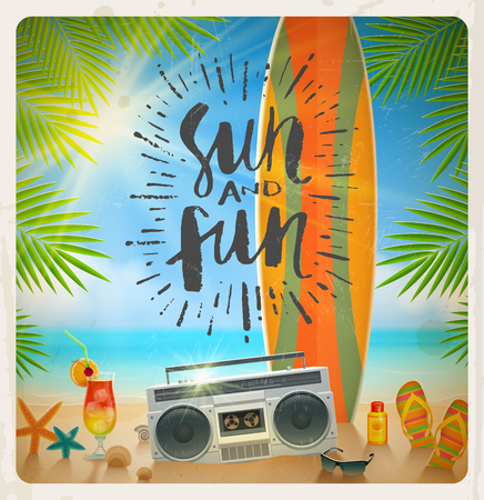 fun in the sun: Sun and fun - hand drawn calligraphy. Summer holidays and beach vacation vector illustration. Beach items and surfboard on the shore of tropical sea. Illustration