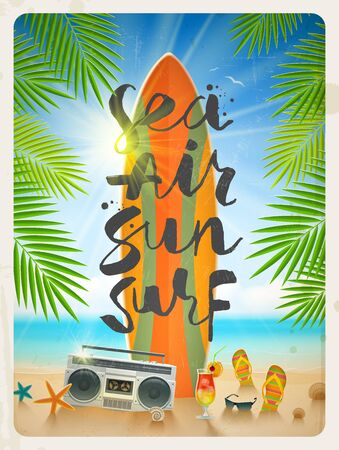 vacation summer: Sea, Air, Sun, Surf - hand drawn calligraphy. Summer holidays and beach vacation vector illustration. Beach items and surfboard on the shore of tropical sea.