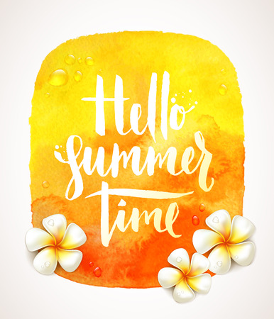 Hello summer time - handwritten calligraphic greeting and frangipani tropical flowers on a yellow watercolor background banner - vector illustration