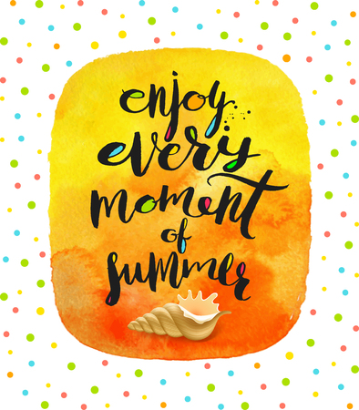 conch shell: Enjoy every moment of summer - Summer holidays greeting. Handwritten calligraphy and conch shell on a watercolor background. Vector illustration.