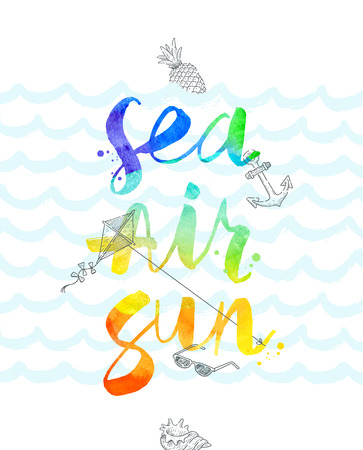 conch shell: Summer vacation  illustration with watercolor calligraphy - illustration
