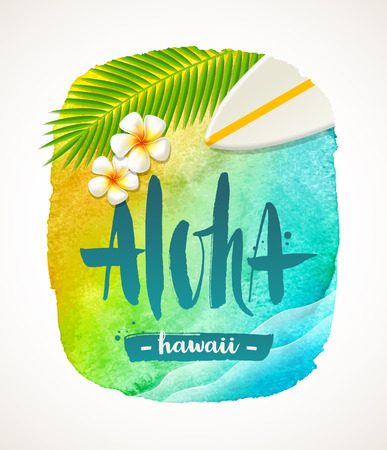 resort: Aloha Hawaii - summer vacation illustration. Watercolor with brush calligraphy greeting. illustration. Illustration