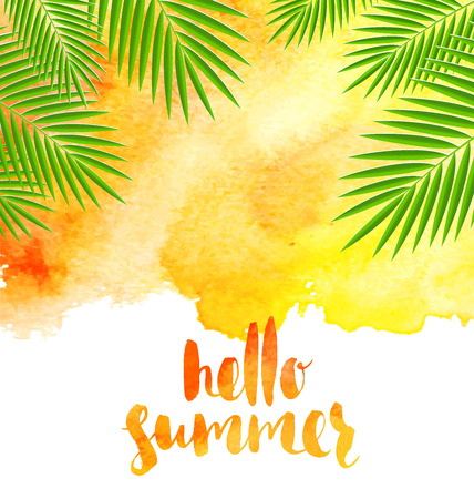 Summer vacation illustration - watercolor background with palm tree branches and brush calligraphy.