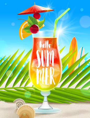cockleshell: Summer vacation illustration with brush calligraphy. Exotic cocktail glass, palm tree branch and sea shells on a beach sand. illustration. Illustration