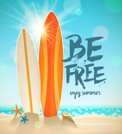 sunny beach: Summer holidays illustration with brush calligraphy. Surfboards, starfish and shell on a sunny tropical beach.