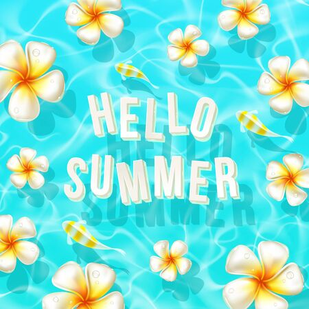 shallow: Vector illustration of summer vacation. Exotic flowers and greeting letters floating in the shallow water of a tropical sea.