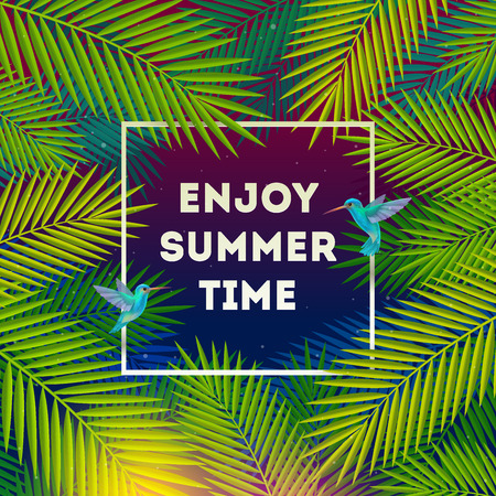 Enjoy summer time - background with tropical forest and greetings. illustration. Illustration