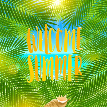 conch shell: Welcome summer - Summer holidays and vacation greeting illustration. Background with palm tree branches and conch shell.