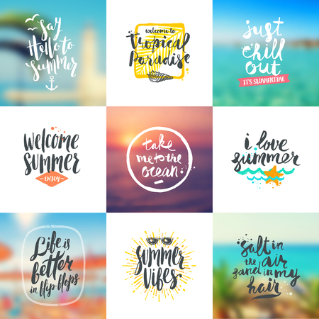 travel backgrounds: set of summer travel and vacation calligraphy design on a blurred backgrounds. Illustration