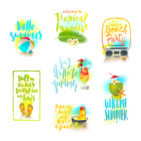 beach party: set of summer holidays and tropical vacation greeting designs with calligraphy.
