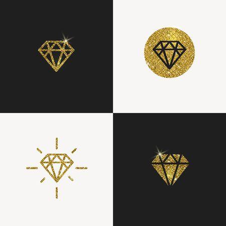 diamante negro: Conjunto de emblemas del brillo del diamante del oro. ilustración. Vectores