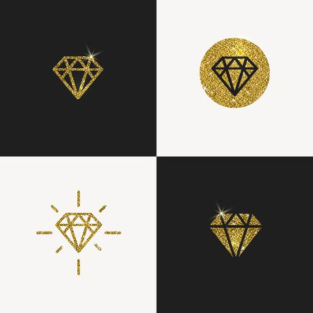 diamond background: Set of Glitter gold diamond emblems. illustration.