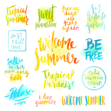 phrases: set of  calligraphy. Summer holidays and vacation greetings, quotes and phrases.